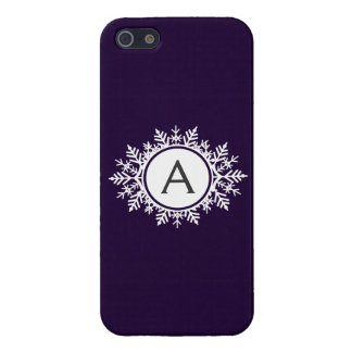 Ornate White Snowflake Monogram on Purple Case For iPhone SE/5/5s