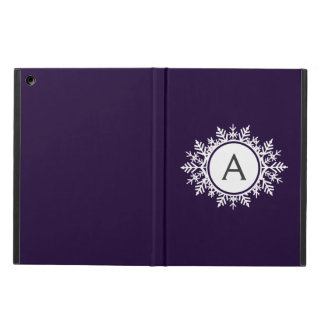 Ornate White Snowflake Monogram on Purple Cover For iPad Air