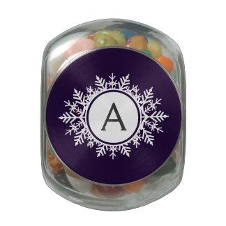 Ornate White Snowflake Monogram on Purple Glass Jar
