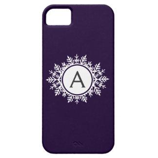 Ornate White Snowflake Monogram on Purple iPhone SE/5/5s Case