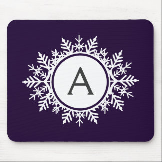 Ornate White Snowflake Monogram on Purple Mouse Pad