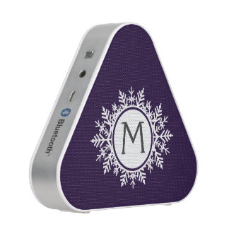 Ornate White Snowflake Monogram on Purple Speaker