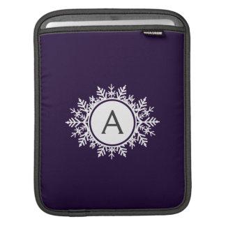 Ornate White Snowflake Monogram on Purple Sleeve For iPads