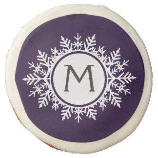 Ornate White Snowflake Monogram on Purple Sugar Cookie