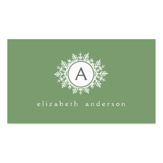 Ornate White Snowflake Monogram on Sage Green Business Card Template