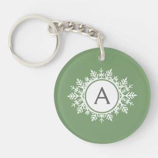 Ornate White Snowflake Monogram on Sage Green Keychain