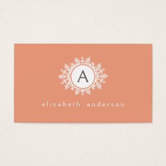 Ornate White Snowflake Monogram on Soft Coral Pink Business Card