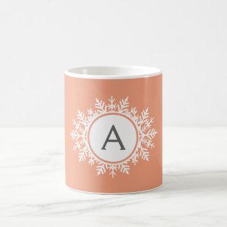 Ornate White Snowflake Monogram on Soft Coral Pink Coffee Mug