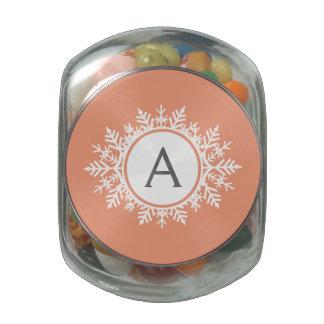 Ornate White Snowflake Monogram on Soft Coral Pink Glass Jars