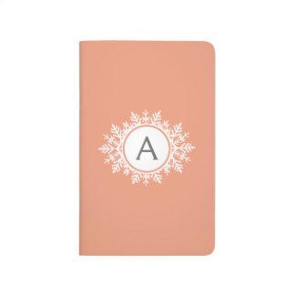 Ornate White Snowflake Monogram on Soft Coral Pink Journal