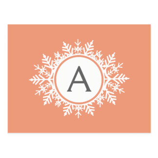 Ornate White Snowflake Monogram on Soft Coral Pink Postcard