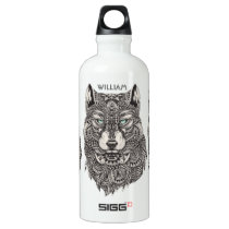 Ornate Wolf Head Illustration Aluminum Water Bottle