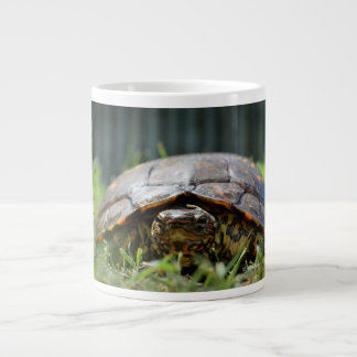 Ornate wood turtle at his level in grass large coffee mug