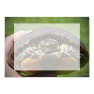 Ornate wood turtle in hand card