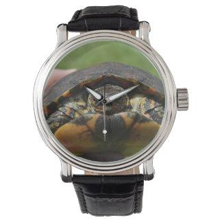 Ornate wood turtle in hand wrist watch