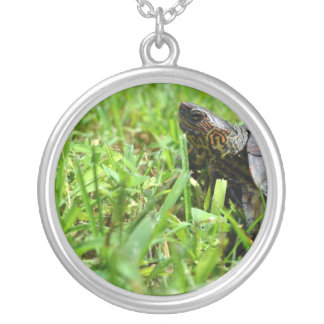 ornate wood turtle looking left round pendant necklace