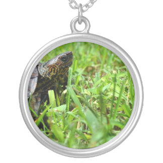 ornate wood turtle looking right round pendant necklace