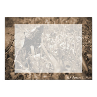 ornate wood turtle looking right sepia card