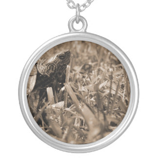 ornate wood turtle looking right sepia silver plated necklace