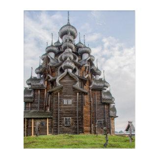Ornate wooden church, Russia Acrylic Wall Art