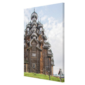 Ornate wooden church, Russia Canvas Print