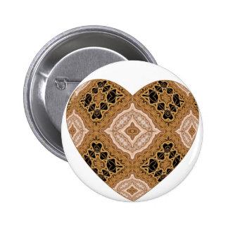 Ornate Woven Golden Heart Pinback Buttons
