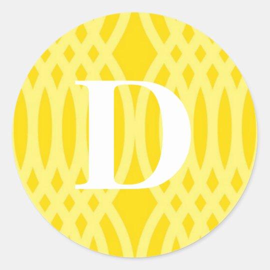 Ornate Woven Monogram - Letter D Classic Round Sticker