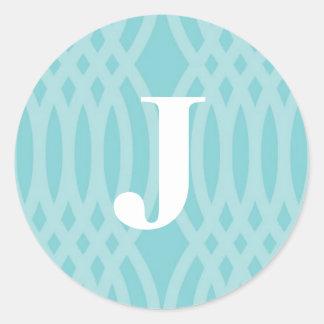 Ornate Woven Monogram - Letter J Classic Round Sticker