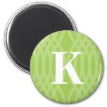 Ornate Woven Monogram - Letter K 2 Inch Round Magnet