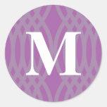 Ornate Woven Monogram - Letter M Round Stickers