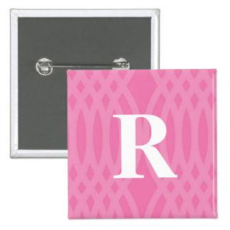 Ornate Woven Monogram - Letter R 2 Inch Square Button