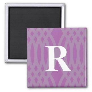 Ornate Woven Monogram - Letter R 2 Inch Square Magnet