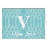Ornate Woven Monogram - Letter V Cards