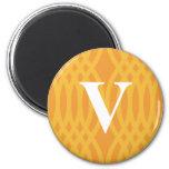 Ornate Woven Monogram - Letter V Refrigerator Magnets