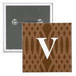 Ornate Woven Monogram - Letter V Pinback Button