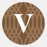 Ornate Woven Monogram - Letter V Sticker