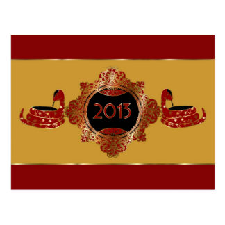 Ornate Year of the Snake Chinese New Year Postcard