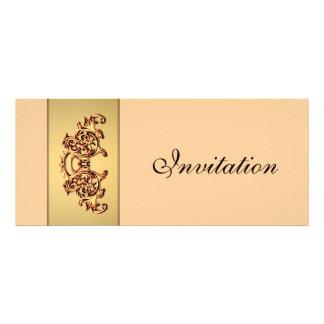 Ornate yellow gold swirl classy wedding invitation