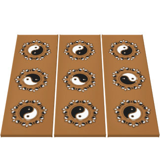 Ornate Yin Yang Triptych Stretched Canvas Print