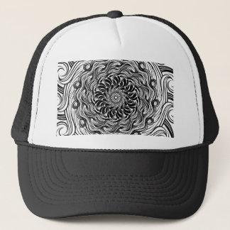 Ornate Zen Doodle Optical Illusion Black and White Trucker Hat