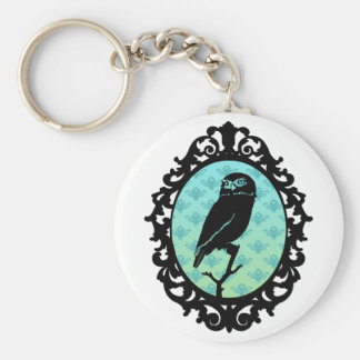 Ornated Framed Owl Basic Round Button Keychain