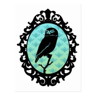 Ornated Framed Owl Post Card
