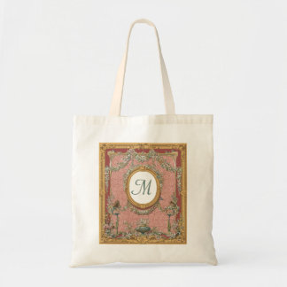 Ornately Framed Monogram, Vintage Floral Tapestry Bag