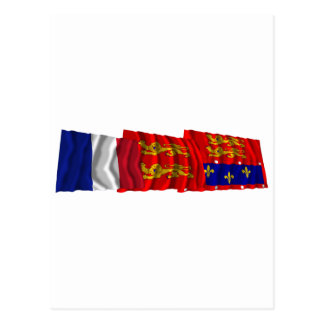 Orne, Basse-Normandie & France flags Postcard