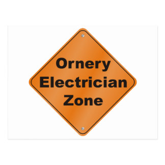 Ornery Electrician Post Card