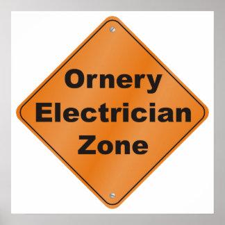 Ornery Electrician Zone Print