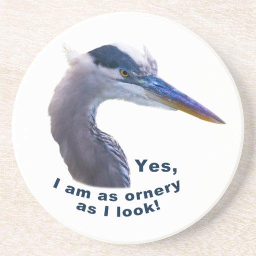 Ornery Heron Coaster Beverage Coaster