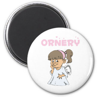 Ornery Little Angel 2 Inch Round Magnet