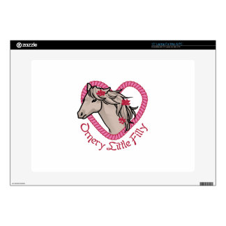 """Ornery Little Filly 15"""" Laptop Decals"""