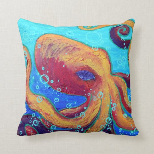 Ornery Octopus Throw Pillow